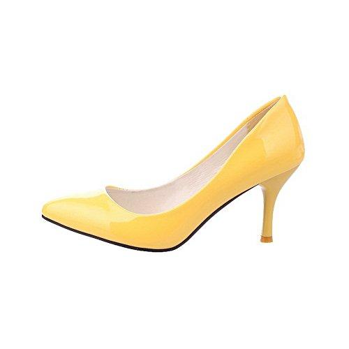 Tacco Punta Pelle Flats Scarpe A Tirare Puro Giallo di VogueZone009 Ballet Medio Donna Maiale ZXSWz