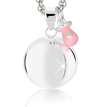 MAMIJUX Llamador de ángeles con chupete rosado y con cadena de acero 110cm