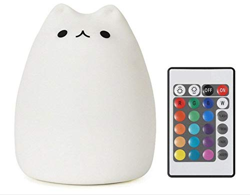 Baby Night Light,Cute Animal Silicone Cat Lamp with Touch and Remote,Portable and Rechargeable  Color Changing Bright for Kids Toddler Baby Girls Nightlight