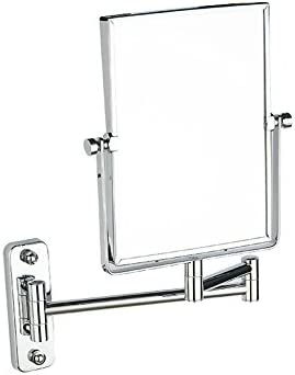 DW HX Bathroom Makeup Mirror, Square Makeup Mirror Wall Mounted Extendable Bathroom Mirror Two-Sided Swivel Beauty Mirror Bathroom Hotel-Silvery