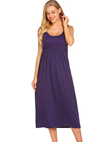 650dabb018b3a Ekouaer Women's Sleepwear Sleeveless Nightgown Maxi Empire Waist Layered  Tank Slip Dress S-XXL Light Purple