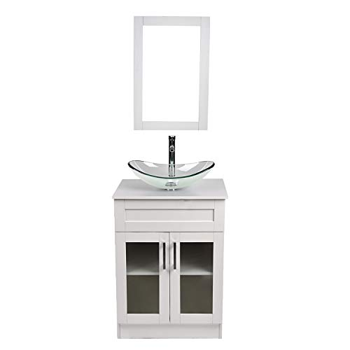 (24 Inch White Wood Bathroom Vanity and Sink Combo with Mirror and Water Saving 1.5 GPM Chrome Faucet Counter Top Floor Cabinet)