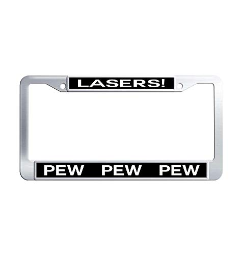 Toanovelty Lasers PEW PEW Metal License Frame car, Waterproof Stainless Steel Car Auto Tag Frame 6' x 12' in