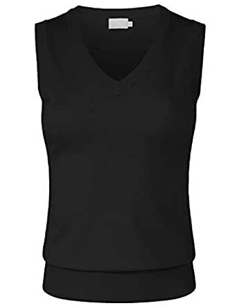 JSCEND Women's Solid Basic V-Neck Sleeveless Soft Stretch Pullover Sweater Vest Top - Black - Small