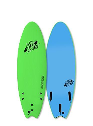 Wave Bandit Performer Tri Surfboard, Neon Green, 5'6