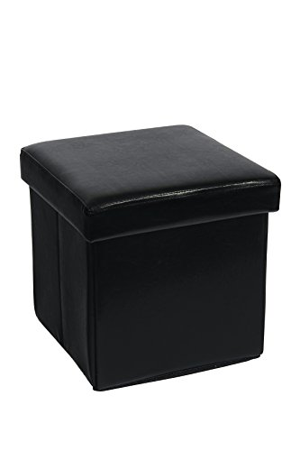 Fsobellaleo Home Foldable Storage Ottoman Foot Rest Stool Seat Footrest Coffee Table Black 15'X15