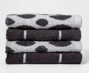 Project 62 100% Terry Cotton Woven Pattern Washcloth Set - Set of 4 (Dark Grey/White)
