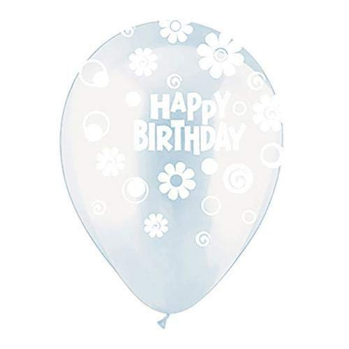 CTI Balloons latex balloons 95005115 All- All-round Happy Birthday Daisies & Dots Clear, 12