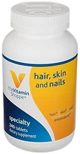 The Vitamin Shoppe Hair, Skin and Nails, with 400MCG of Biotin and Other Essential Vitamins, Nutrient Metabolism Support for Healthy Vibrant Hair, Healthy Skin Strong Nails (240 Tablets)