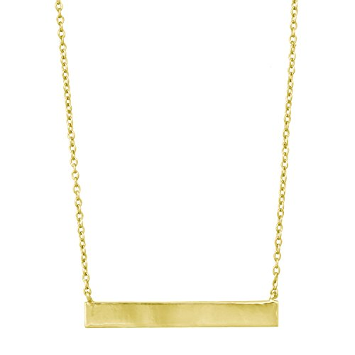 """Sterling Silver 16"""" + 2"""" Extension Gold-Plated Flat Horizontal Engravable Bar Necklace"""