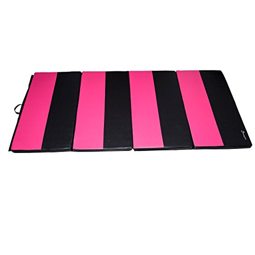 Soozier PU Leather Gymnastics Tumbling/Martial Arts Folding Mat, Pink/Black, 4 x 8' x 2