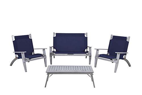 Linon 4-Pc Outdoor Set in Acacia Gray and Navy Blue ()