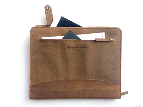 """Pad folio Portfolio Planner Organizer Zippered Document holder made in cow leather with A4 sized pocket can keep 11""""MacBook Dell Asus Acer laptop Tablets Brown by The Leather Warehouse by THE LEATHER WAREHOUSE"""