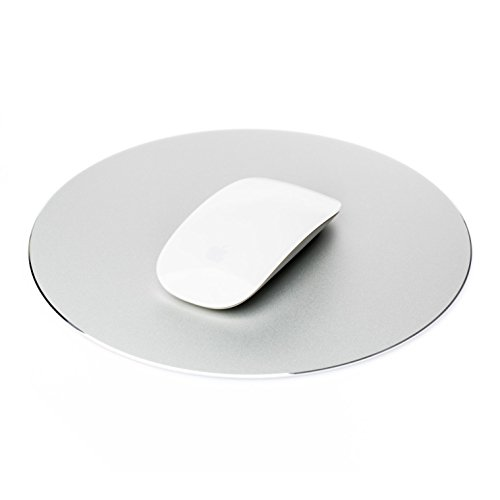 Mouse Mat Circular Gaming Aluminium Metal Mouse Pad with Waterproof Non Slip Rubber Base and Frosted Surface Mousepad for Apple MackBook