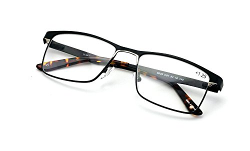 Men Premium Rectangle Stainless Steel Reading Glasses - Wide Fitment Metal Reader (Black, 1.50) (1 Diopter Reading Glasses)