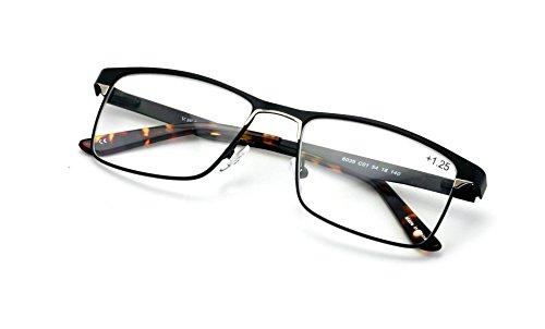 Men Premium Rectangle Stainless Steel Reading Glasses - Wide Fitment Metal Reader (Black, 1.25)