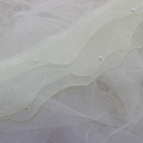Laliva (5 Yards/lot) DIY lace Trim 13cm Multicolor Organza Ruffle Pearl Organza Skirt lace Fabric Decoration Clothing Materials - (Color: Milk White)