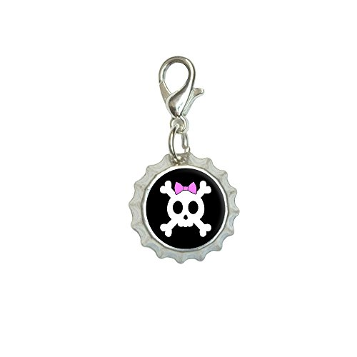 Girly Skull And Crossbones With Hairbow Bracelet Pendant Zipper Pull Bottlecap Charm with Lobster Clasp