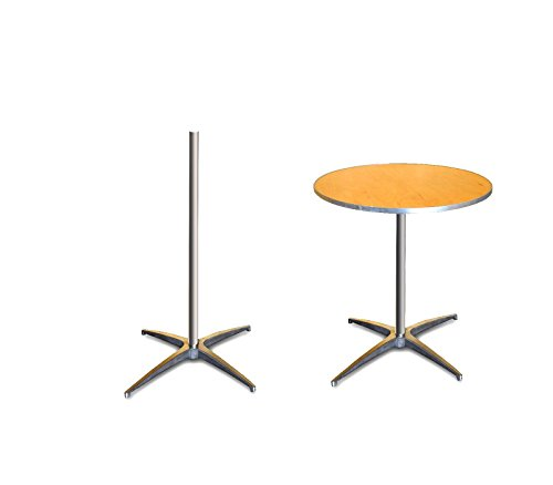 2.5' Diameter Bar - 30-Inch (2.5-Foot) Diameter Heavy Duty Round Cocktail or Bistro Solid Birch Wood Folding Table with 30-Inch or 42-Inch Height and Aluminum Edge for Bistros, Patios, Restaurants, Bars, and Weddings