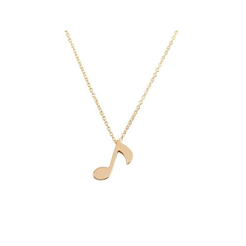 WLL Love Musical Note Necklace Charm Pendant Silver Gold Jewelry for Women Music Lover Jewelry Gift (Gold)