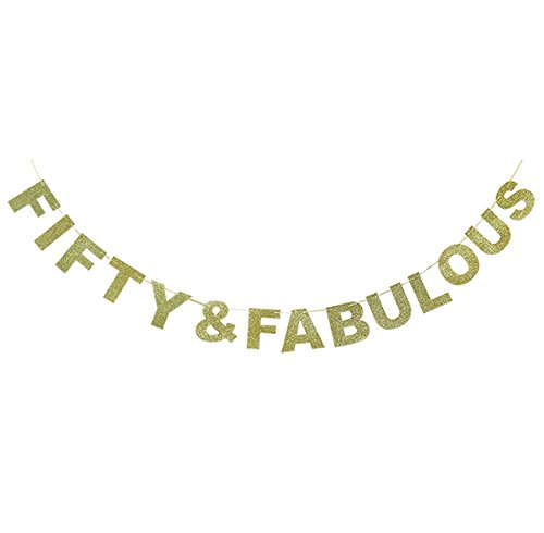 Hatcher lee Fifty & Fabulous Banner Gold Glitter for Wedding Anniversary 50th Birthday 50 Years Old Party Decoration Sign Ideas