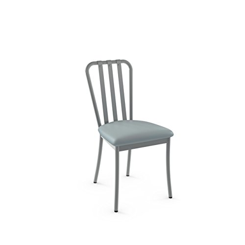 Amisco Industries Club Metal Dining Chair in Glossy Grey Metal and Light Aqua Blue Polyurethane (Set of 2), Grey Metal/Aqua Blue Polyurethane from Amisco Industries