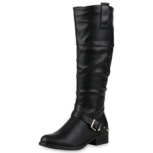 napoli-fashion Klassische Damen Stiefel Schnallen Leder-Optik Booties Jennika Schwarz Black