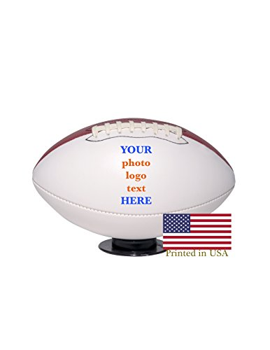Custom Personalized Football - Full Size - Ships in 1 Day, High Resolution Photos, Logos & Text on Football Balls - for Players, Trophies, MVP Awards, Coaches -