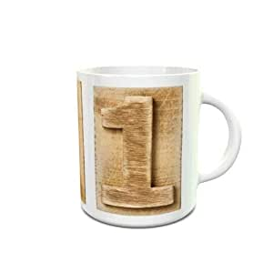 White Ceramic Tea Cup 6 Oz with Wooden Colored Number 1 Design 140