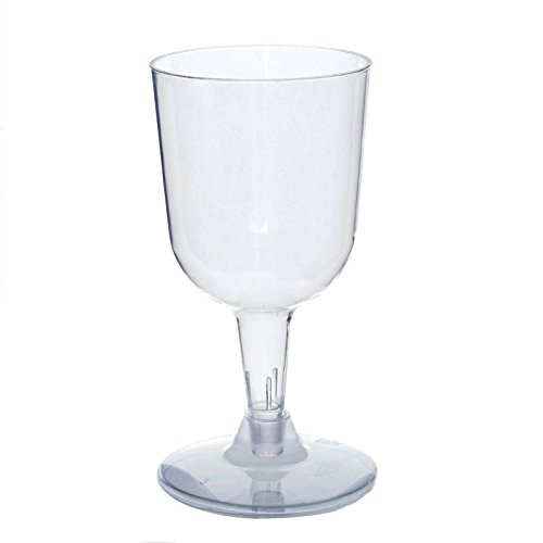 Efavormart 100 Pcs - Clear 5oz Disposable Plastic Wine Glass - Crystal Collection