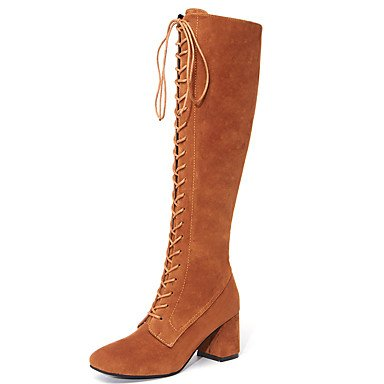 US5 Knee 5 Up Lace Pu Boots CN35 Calf Shoes Boots For Fall Career 5 Office Boots Heel High Mid Zipper Chunky Winter UK3 amp;Amp; Fashion Women'S EU36 Boots RTRY Dress USqfvwS