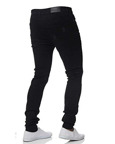 Nero Denim Fit Casual Strappati Especial Leggeri Da Fori Motociclista Uomo Pantaloni Jeans Elasticizzati Estilo Slim UxnqP6wSO