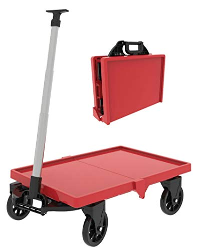 Mighty Hauler Collapsible Folding Utility Wagon - Folds Into 6.5'' Wide Briefcase, Weighs 14 Pounds, 150 Lb Cart Capacity (Red)