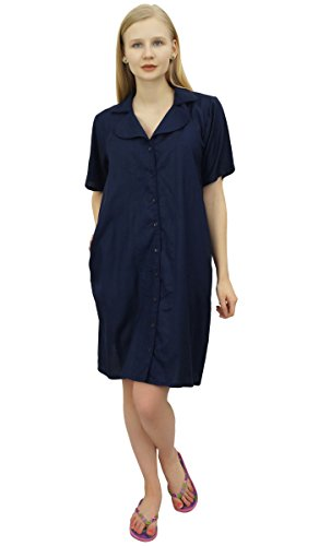 Dentellato Tasche Shirt Bimba Femminile Le Blu Collare Nighty Con Navy Sleepshirt SEqq8