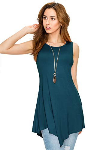 WT671 Womens Handkerchief Hem Tank Tunic Top S TEAL