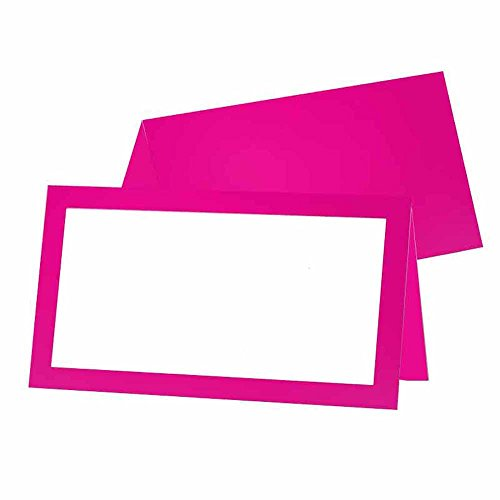 Fuchsia Place Cards - Tent Style - White Blank Front with Border - Placement Table Name Seating Stationery Party Supplies for any Occasion or Event - Dinner Food Display or Product Tag Label Set