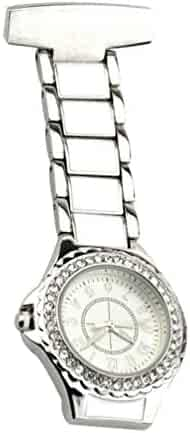 NICERIO Lapel Watch for Nurses Hanging Medical Doctor Pocket Watch Nurses Fob Watch Pin-on Lapel Watch for Xmas Birthday Mothers Day Gift (Silver)