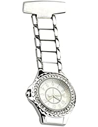 Lapel Watch for Nurses Hanging Medical Doctor Pocket Watch Nurses Fob Watch Pin-on Lapel Watch for Xmas Birthday Mothers Day Gift (Silver)