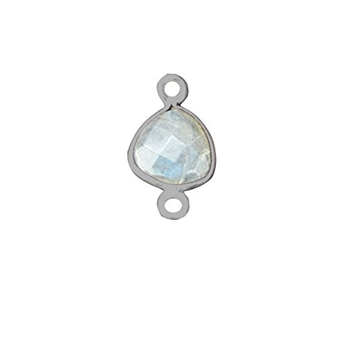 Labradorite Bezel Connector Trillion Shape, 8mm Silver Plated Gemstone Connector/Pendant (LB-10369)
