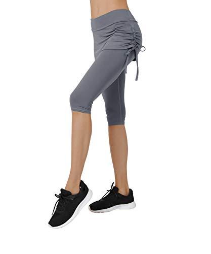 (Women's Running Cropped Capri Pants Swim Skirted Sport Leggings Sun Protection m gy Grey)