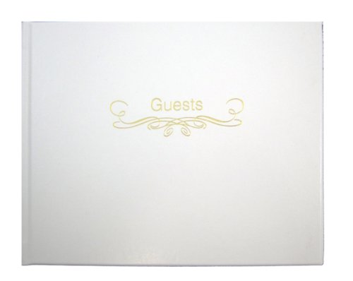 BookFactory Leather Wedding Guest Book - 72 Pages, White Leather Cover, 9'' x 7'', Smyth Sewn Hardbound (LOG-072-GUEST) by BookFactory