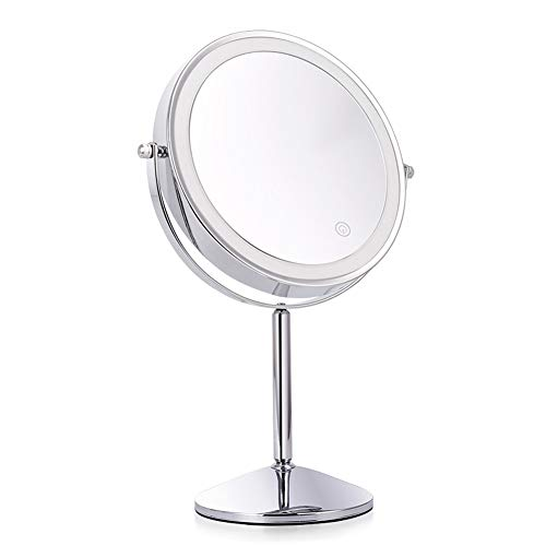 8 Inches Desktop LED Lighted Makeup Mirror USB Charging Two Sided with -