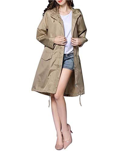 Targogo De Capuche À Mode Ponchos coat Manteau Longue Dames Lumière Vestes Trench Imperméable Pluie Respirant Moderne Kaki Femmes g5gAqr