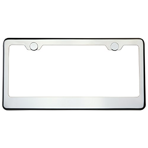(Polish Chrome T304 Stainless Steel License Plate Frame Holder Front Or Rear Bracket with Aluminum Screw Cap)