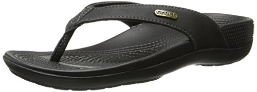 crocs Women's Ella Comfortpath Flip-Flop, Black/Black, 5 M US by Crocs