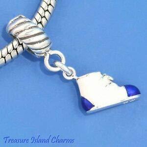 (Harissa Enamel Blue White Baby Boy Shoe 925 Sterling Silver European Bead Charm Bootie Crafting, Bracelet Necklace Jewelry Findings Jewelry Making Accessory)