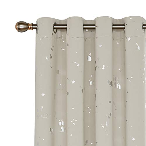 84l Panel (Deconovo Silver Dots Printed Blackout Grommet Curtains Room Darkening Cream Curtains for Kids Room Cream 52W x 84L 2 Panels)
