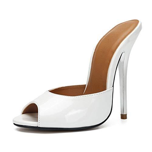 fereshte Women's Men's Crossdressing Peep-Toe Backless Slide Heeled Sandals White EU42