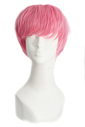 MapofBeauty Fashion Men Short Curly Hair Cosplay Wig (Dark Pink) -