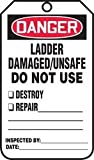 Accuform Signs MDT182CTP Ladder Status Tag, Legend''DANGER LADDER DAMAGED/UNSAFE DO NOT USE'', 5.75'' Length x 3.25'' Width x 0.010'' Thickness, PF-Cardstock, Red/Black on White (Pack of 25)